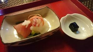 小布施「鈴花」さんのお刺身、ゼリー状の醤油!絶品