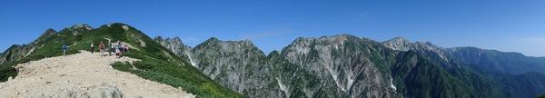 丸山から不帰の嶮、白馬三山の展望