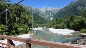 河童橋から穂高岳方面を望む