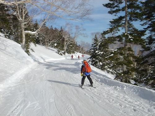 栂池ロープウェイ横の林道コース