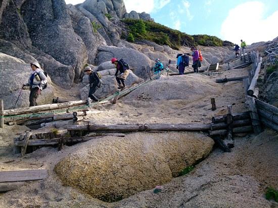 燕岳山頂からの下山ルート