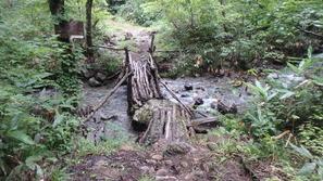 風情のある木橋を渡ります