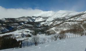 栂池高原スキー場の最上部から見た北アルプス方面