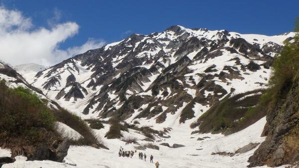 大雪渓の後ろは迫力の白馬岳!