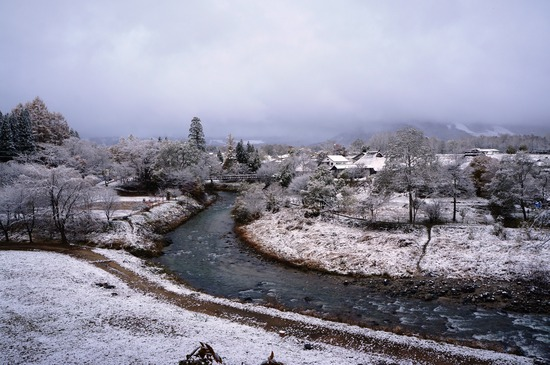 大出公園のビューポイントから雪景色