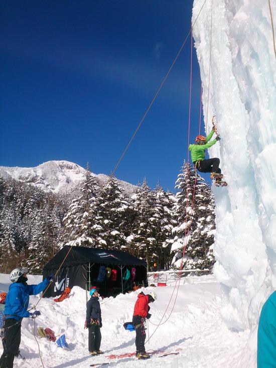 氷壁に取り付くクライマーたち