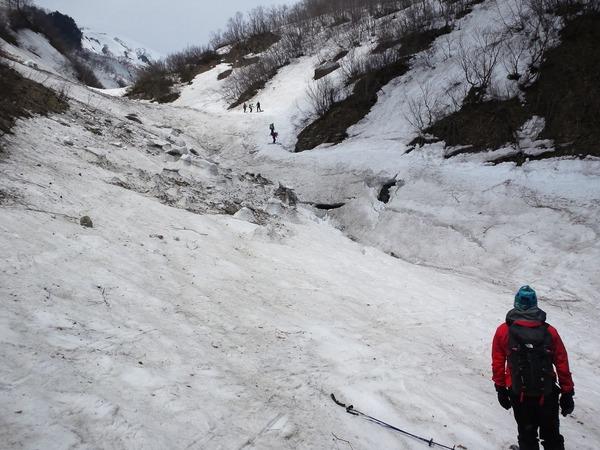 金山沢の下部では雪の崩落あり