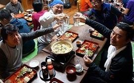 本沢温泉さんの夕食でカンパイ〜☆