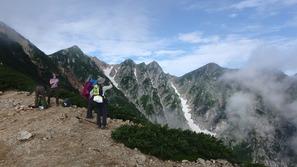 唐松岳(左の三角ピーク)と不帰の嶮