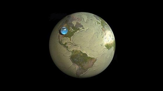 【画像あり】地球のすべての水を一箇所に集めた結果wwww