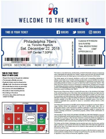 76ersのチケット