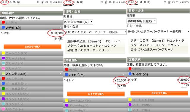 ジャパンゲーム コートサイド席値段推移