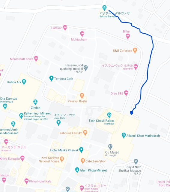 ヒヴァの地図