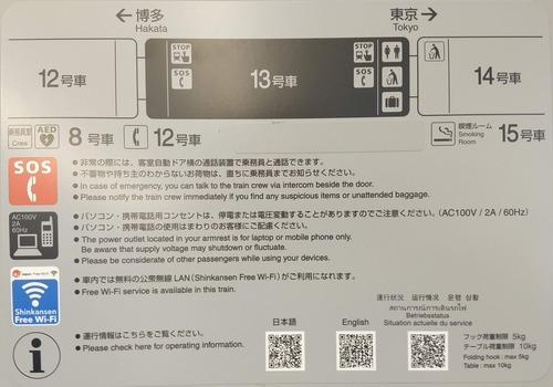 東海道新幹線の座席部分案内