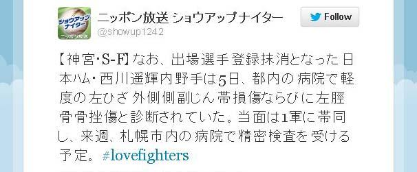 出場選手登録抹消となった日本ハム・西川