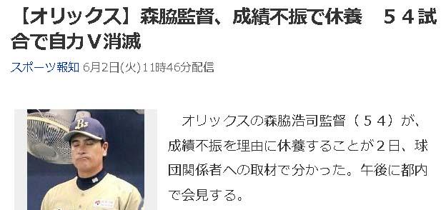 【オリックス】森脇監督
