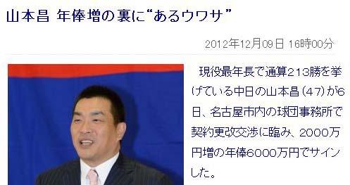 """山本昌 年俸増の裏に""""あるウワサ"""""""
