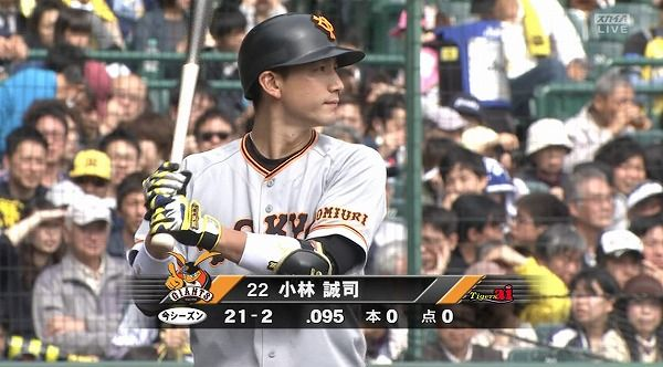 小林誠司(巨) .087 (23-2) 0打点 0HR 9三振