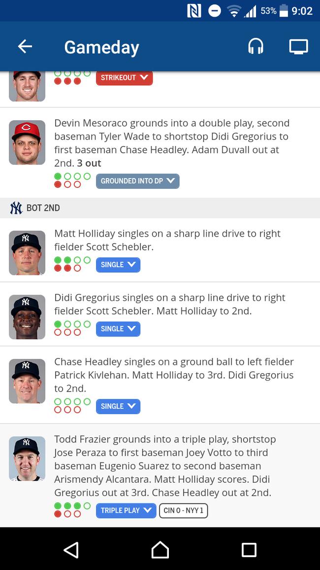 【GIF】ヤンキースさん、無死満塁からトリプルプレーの間に1点先制
