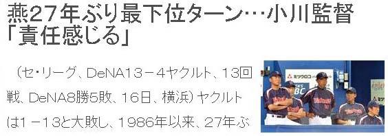 燕27年ぶり最下位ターン…小川監督「責任感じる」