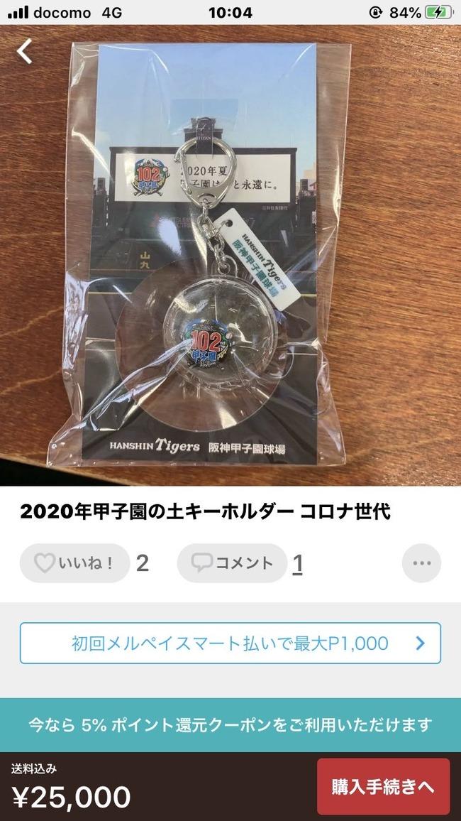 【悲報】阪神配布の甲子園の土キーホルダー、早速メルカリに出品されてしまう