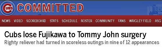Cubs lose Kyuji Fujikawa to Tommy John surgery