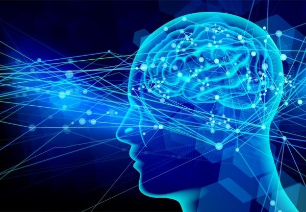 脳神経ビジネス青い光の背景