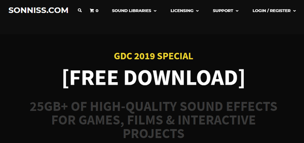 SONNISS社 「GDC 2019 Game Audio Bundle」