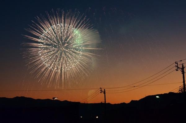 9月 花火と夕暮れ、街並み