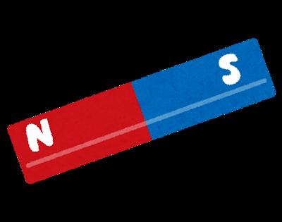 赤いS極と、青いN極がある、棒形の磁石のイラスト