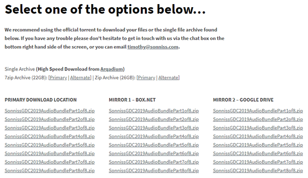 SONNISS社 「GDC 2019 Game Audio Bundle」_ダウンロードリンク