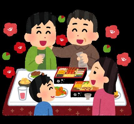 家族の新年会のイラスト
