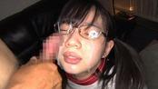 メガネの斉藤みゆに顔射