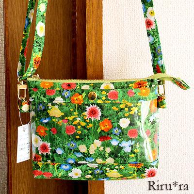 インコ柄のバッグインバッグ、お花畑のポシェット♪