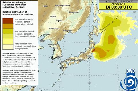 日本時間4月26日午前9時の予測図
