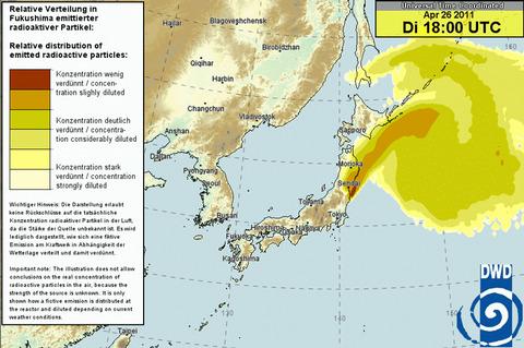日本時間4月27日午前3時の放射能予測図