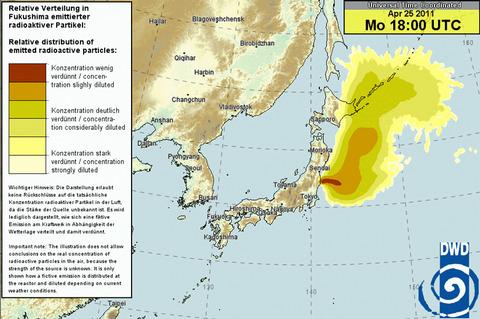 日本時間4月26日午前3時の放射能拡散予測