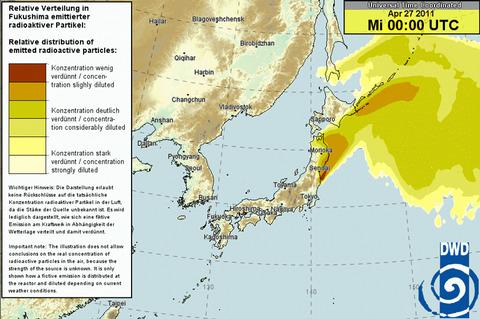 日本時間4月27日午前9時の放射能予測図