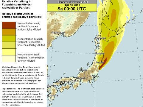 ドイツ気象庁による4月16日の福島原発の放射能拡散予測です。