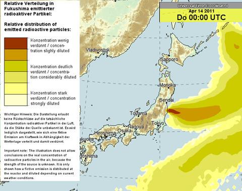 月14日放射能拡散予想図
