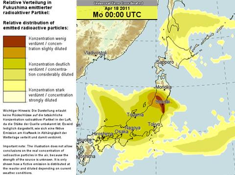 福島原発の放射能拡散予測図