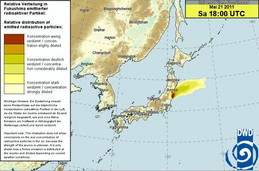 5月22日午前3時 (日本時間)ドイツ気象庁拡散予測図