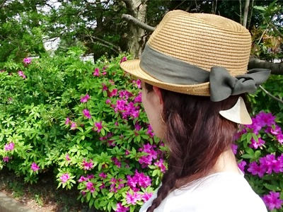 中折れストローハット 夏帽子