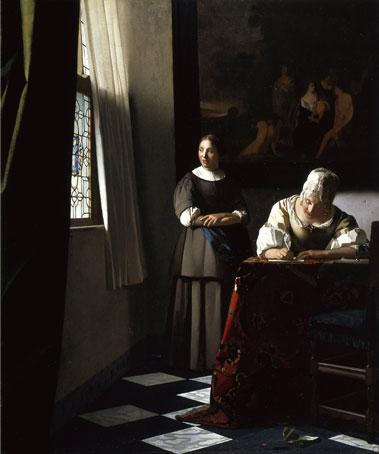 手紙を書く婦人と召使い