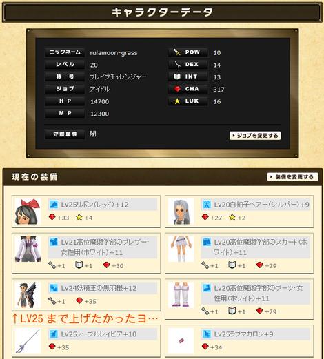 るうきちさんのステータスと実装(CHA特化)2012年10月最終