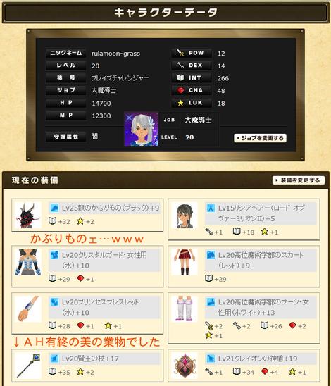 るうきちさんのステータスと実装(INT特化)2012年10月最終