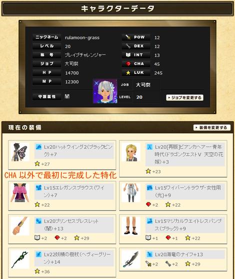 るうきちさんのステータスと実装(LUK特化)2012年10月最終