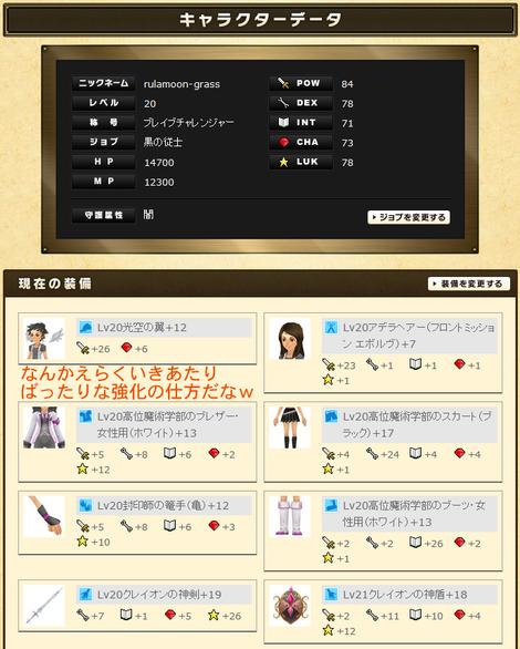 るうきちさんのステータスと実装(平均装備)2012年10月最終