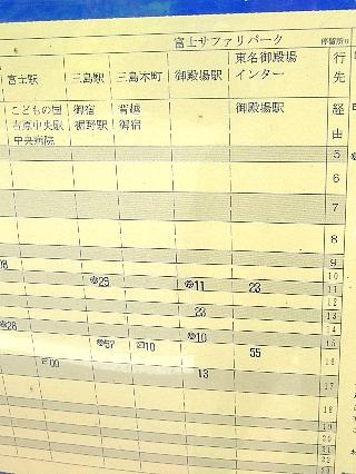 サファリから御殿場へのバス時刻表00