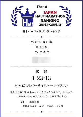 2016日本ハーフマラソンランキングR